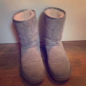 Gray Ugg Laser Cut Suede Boots Size 8